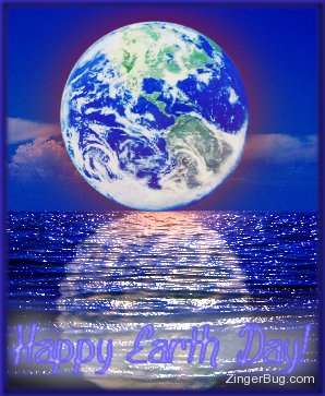 Click to get the codes for this image. Graphic showing the Earth reflected in the ocean. The comment reads: Happy Earth Day!