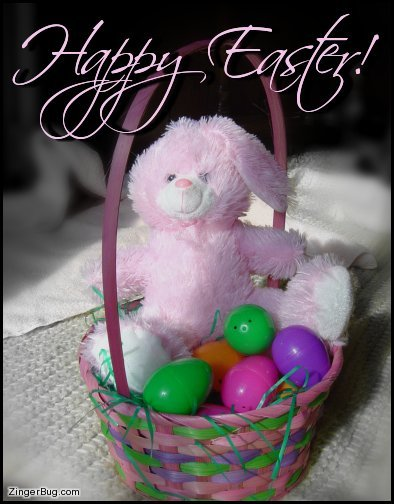Click to get the codes for this image. Easter Bunny In Basket, Easter Free Image, Glitter Graphic, Greeting or Meme for Facebook, Twitter or any forum or blog.