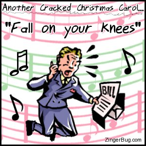 Click to get the codes for this image. This funny cartoon shows a horrified looking man opening a bill and falling to his knees. The comment reads: Another Cracked Christmas Carol... Fall on your knees