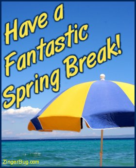 Click to get the codes for this image. Photograph of a beach umbrella with a beautiful blue ocean in the background. The comment reads: Have a Fantastic Spring Break!