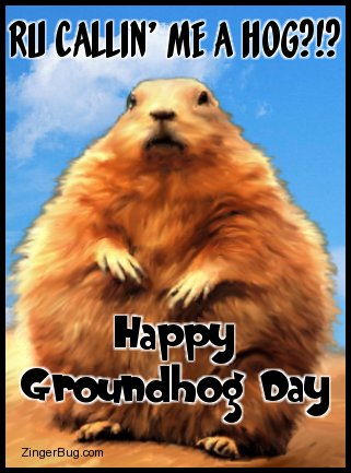 Click to get the codes for this image. This funny graphic features a painting of an abnormally fat groundhog with the comment: RU Callin' Me a Hog?!? Happy Groundhog Day!