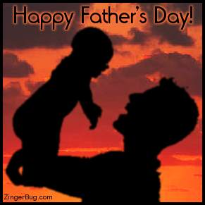 Click to get the codes for this image. This photo shows a man holding a baby silhouetted against a sunset. The comment reads: Happy Father's Day