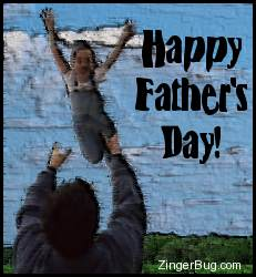 Click to get the codes for this image. This graphic features a dad tossing his daughter up in the air to catch her. The comment reads: Happy Father's Day!
