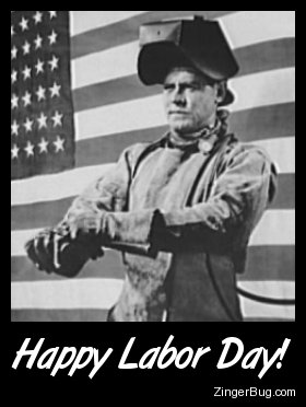 Click to get the codes for this image. Vintage poster of a man wearing a welding mask in fron t of an American Flag. The comment reads: Happy Labor Day!