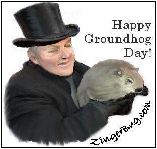 Click to get the codes for this image. Painting of a man in a top hat holding a groundhog. Comment reads: Happy Broundhog Day!