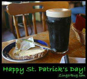 Click to get the codes for this image. Photo of bread with butter and a very dark Guinness beer. Comment reads: Happy St. Patrick's Day!