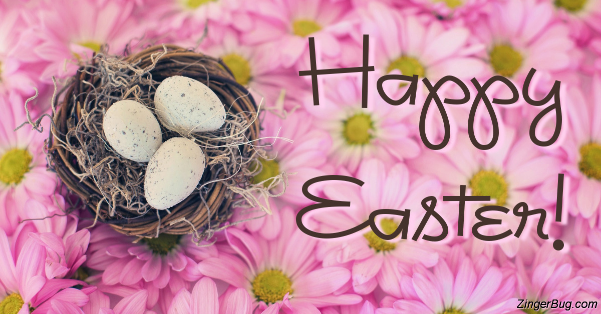 Click to get the codes for this image. Happy Easter Birds Nest With Pink Daisies, Easter Free Image, Glitter Graphic, Greeting or Meme for Facebook, Twitter or any forum or blog.