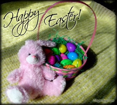 Click to get the codes for this image. Happy Easter Bunny With Basket, Easter Free Image, Glitter Graphic, Greeting or Meme for Facebook, Twitter or any forum or blog.