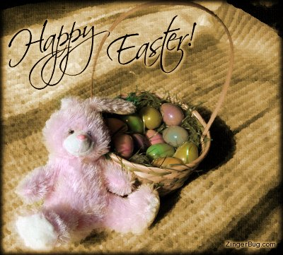 Click to get the codes for this image. Happy Easter Bunny With Basket Sepia Tone, Easter Free Image, Glitter Graphic, Greeting or Meme for Facebook, Twitter or any forum or blog.