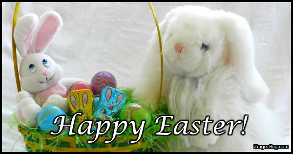 Click to get the codes for this image. This cute greeting features a photo of an Easter basket with two stuffed bunnies. The caption reads Happy Easter!