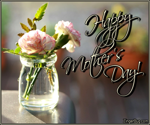 Click to get the codes for this image. Happy Mothers Day Carnations, Mothers Day Glitter Graphic, Comment, Meme, GIF or Greeting