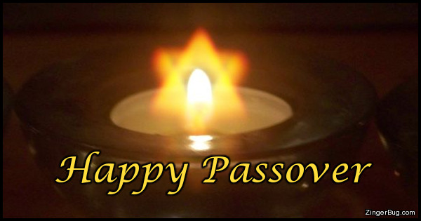 Click to get the codes for this image. This greeting features a photo of an oil lamp. Around the flame is a halo in the shape of a Star of David. The caption reads Happy Passover