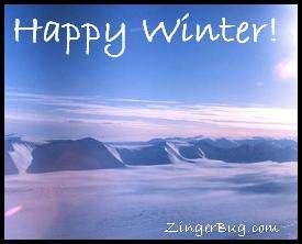 Click to get the codes for this image. Happy Winter Snowy mountain scene, Winter Free Image, Glitter Graphic, Greeting or Meme for Facebook, Twitter or any forum or blog.