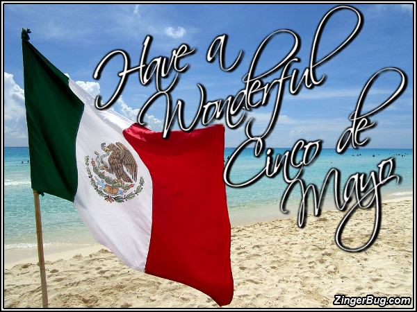 Click to get the codes for this image. Have A Wonderful Cinco De Mayo Flag On Beach, Cinco de Mayo Glitter Graphic, Comment, Meme, GIF or Greeting