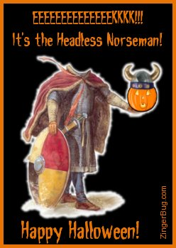Click to get the codes for this image. This funny Halloween comment shows a picture of a Viking with no head. He's holding a pumpkin head in his outstretched hand. The comment reads: EEEEEKKK! It's the Headless Norseman! Happy Halloween!