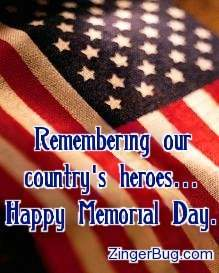Click to get the codes for this image. Photo of an American flag draped over a coffin. The comment reads: Remembering our country's heroes... Happy Memorial Day.