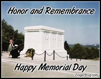 Click to get the codes for this image. Photo of a couple laying a wreath at the tomb of the unknow soldier with the comment: Honor and Remembrance. Happy Memorial Day.