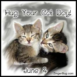 Click to get the codes for this image. Beautiful painting of 2 hugging kittens. The comment reads: Hug your Cat Day! June 4