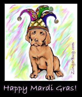 Click to get the codes for this image. Jester Dog Happy Mardi Gras!, Mardi Gras Free Image, Glitter Graphic, Greeting or Meme for Facebook, Twitter or any forum or blog.