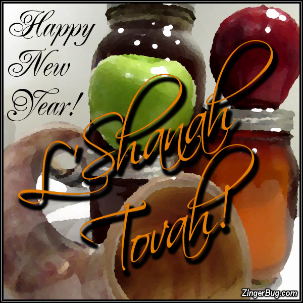 Click to get the codes for this image. L'Shanah Tovah Happy New Year Rosh Hashanah Apples And Honey, Rosh Hashanah Free Image, Glitter Graphic, Greeting or Meme for Facebook, Twitter or any forum or blog.