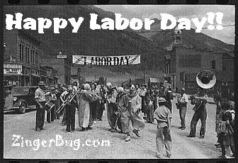 Click to get the codes for this image. This vintage black & white photograph shows a marching band and dancing clowns in a Labor Day Parade. The comment reads: Happy Labor Day!