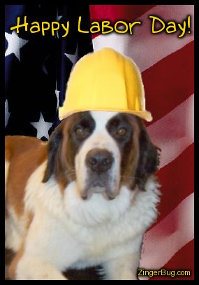 Click to get the codes for this image. Cute photograph of a dog wearing a yellow worker's hard hat in front of an American Flag. The comment reads: Happy Labor Day!