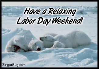 Click to get the codes for this image. Cute photo of a family of polar bears sacked out asleep. The comment reads: Have a Relaxing Labor Day Weekend!