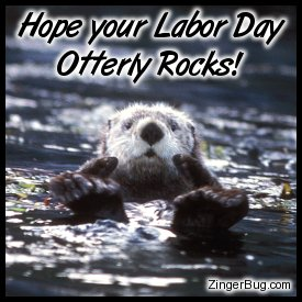 Click to get the codes for this image. This cute photo shows a sea otter in the water giving 2 thumbs up. The comment reads: Hope your Labor Day Otterly Rocks!