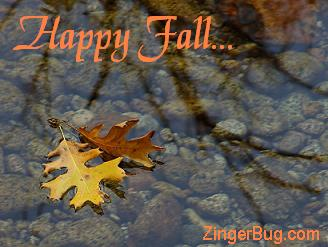 Click to get the codes for this image. Beautiful photo of 2 oak leaves floating on the water with a tree branch reflected in the water. The comment reads: Happy Fall!
