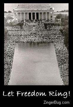 Click to get the codes for this image. This graphic shows an arial photo of the famous MLK March on Washington in front of the reflecting pool. The comment reads: Let Freedom Ring!