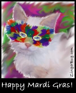 Click to get the codes for this image. Mardi Gras Cat Painting, Mardi Gras Free Image, Glitter Graphic, Greeting or Meme for Facebook, Twitter or any forum or blog.
