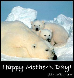 Click to get the codes for this image. Mother's Day Polar Bears, Mothers Day Free Image, Glitter Graphic, Greeting or Meme for Facebook, Twitter or any forum or blog.