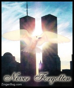 Click to get the codes for this image. This beautiful graphic shows the twin towers of the World Trade Center with a white bird superimposed on top. The comment reads: Never Forgotten.