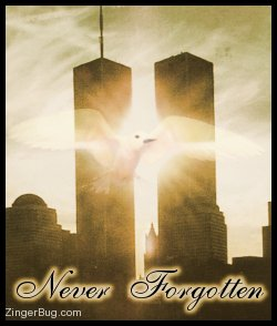 Click to get the codes for this image. This beautiful sepia tone photo graphic shows the twin towers of the World Trade Center with a white bird superimposed on top. The comment reads: Never Forgotten.
