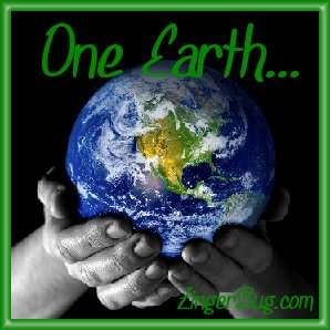 Click to get the codes for this image. Earth Day Photo of 2 hands holding a globe. The comment reads: One Earth...