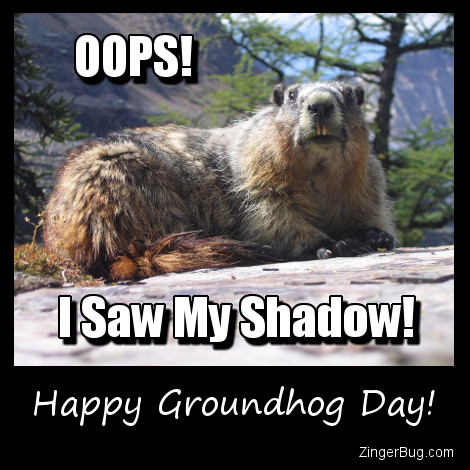 Click to get the codes for this image. Oops Groundhog Saw His Shadow, Groundhog Day Glitter Graphic, Comment, Meme, GIF or Greeting