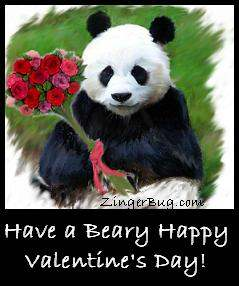 Click to get the codes for this image. Cute painting of a panda bear holding a bouquet of red roses. The comment reads: Have a Beary Happy Valentine's Day!