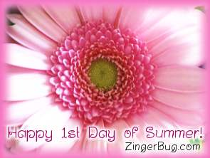 Click to get the codes for this image. Pink Flower Happy First Day Of Summer, Summer Free Image, Glitter Graphic, Greeting or Meme for Facebook, Twitter or any forum or blog.