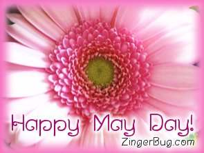 Click to get the codes for this image. Pink Flower Happy May Day, May Day  Beltane Free Image, Glitter Graphic, Greeting or Meme for Facebook, Twitter or any forum or blog.