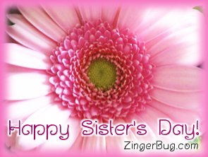 Click to get the codes for this image. Pink Flower Happy Sister's Day Photo, Sisters Day Free Image, Glitter Graphic, Greeting or Meme for Facebook, Twitter or any forum or blog.
