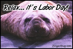 Click to get the codes for this image. This funny photo shows a fat sea lion with a funny smile on his face. The comment reads: Relax... It's Labor Day!