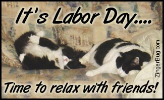 Click to get the codes for this image. This cute photo shows 2 black and white cats sacked out on a sofa together. The comment reads: It's Labor Day... Time to relax with friends!