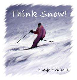Click to get the codes for this image. This graphic shows a painting of a skier on a snowy slope. The comment reads: Think Snow!