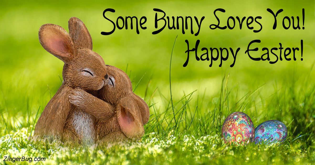 Click to get the codes for this image. Some Bunny Loves You Hugging Easter Bunnies, Easter Free Image, Glitter Graphic, Greeting or Meme for Facebook, Twitter or any forum or blog.