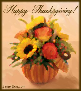 Click to get the codes for this image. This graphic shows a painting of a fall bouquet in a pumpkin vase. The comment reads: Happy Thanksgiving!