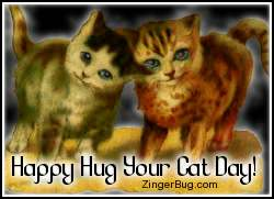 Click to get the codes for this image. Two-Standing-Kittens - Happy Hug Your Cat Day!, Hug Your Cat Day Free Image, Glitter Graphic, Greeting or Meme for Facebook, Twitter or any forum or blog.