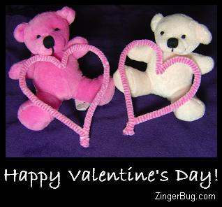 Click to get the codes for this image. This cute graphic shows 2 teddy bears, one pink and the other white. Both are holding pink hearts. The comment reads: Happy Valentine's Day!