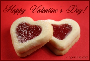 Click to get the codes for this image. This graphic shows a photo of 2 heart-shaped cookies with jelly filling. The comment reads: Happy Valentine's Day!