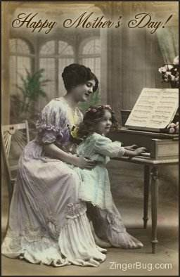 Click to get the codes for this image. Vintage Mother's Day Photo - Mother & Daughter at Piano, Mothers Day Graphic Comment and Codes for MySpace, Friendster, Orkut, Piczo, Xanga or any other website or blog.