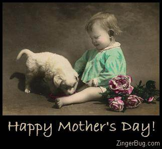 Click to get the codes for this image. Vintage Mother's Day Photo - Baby with Puppy, Mothers Day Free Image, Glitter Graphic, Greeting or Meme for Facebook, Twitter or any forum or blog.